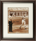 Autographs:Photos, Hank Aaron Signed Photographed Framed and Matted. Beautiful sepiaphotograph showing a young Hank Aaron rounding the bases ...