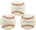 Autographs:Baseballs, Johnny Mize, Hank Bauer, and George Kell Single Signed BaseballsLot of 3. The trio of George Kell, Johnny Mize, and Hank ...