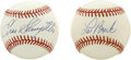 Autographs:Baseballs, Enos Slaughter and Lou Brock Single Signed Baseballs Lot of 2. Apair of Hall of Fame talent provides the signatures that w...