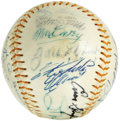 Autographs:Baseballs, Circa 1971 Hall of Famers Multi-Signed Baseball from the Zack WheatEstate. What an incredible assemblage of autographs her...
