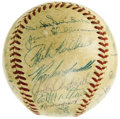 Autographs:Baseballs, 1957 National League All-Star Team Signed Baseball. A three-run rally in the bottom of the ninth inning left the Nationals ...