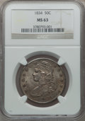 Bust Half Dollars, 1834 50C Small Date, Small Letters MS63 NGC. O-113, R.1....