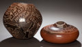 American Indian Art:Pottery, TWO SANTA CLARA BROWNWARE JARS. Jody Folwell and Polly RoseFolwell. c. 1980... (Total: 2 Items)