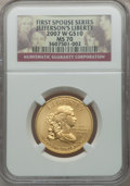 Modern Issues, 2007-W G$10 Jefferson's Liberty Half-Ounce Gold, First Strike, MS70NGC....