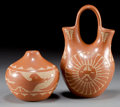 American Indian Art:Pottery, TWO JEMEZ ETCHED REDWARE ITEMS. Alvina Yepa ... (Total: 2 )