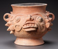 Pre-Columbian:Ceramics, A HIGHLAND MAYA JAR POSSIBLY REPRESENTING THE RAIN DEITY. c. 600 -900 AD...
