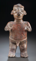 Ceramics & Porcelain:PreColumbian Ceramics, A NAYARIT STANDING FIGURE HOLDING A FAN AND AN ANIMAL. c. 200 BC - 200 AD...