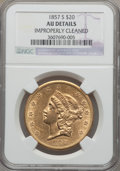 Liberty Double Eagles, 1857-S $20 -- Improperly Cleaned -- NGC Details. AU. Variety20A....
