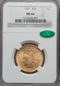 Indian Eagles, 1911 $10 MS64 NGC. CAC....