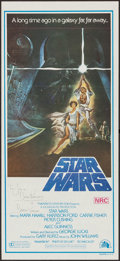 "Movie Posters:Science Fiction, Star Wars (20th Century Fox, 1977). Autographed Australian Daybill(13.5"" X 30"") Style A. Science Fiction.. ..."