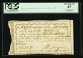 Colonial Notes:New York, Connecticut Interest Payment Certificate. February 25, 1792. CutCancelled. PCGS Extremely Fine 45.. ...