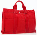 Luxury Accessories:Bags, Hermes Rouge H Canvas Fourre Tout MM Tote Bag. ...