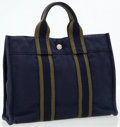 Luxury Accessories:Bags, Hermes Navy & Vert Olive Canvas Fourre Tout PM Tote Bag. ...