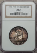 Commemorative Silver: , 1925 50C Vancouver MS65 NGC. NGC Census: (578/298). PCGS Population(690/345). Mintage: 14,994. Numismedia Wsl. Price for p...