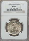 Commemorative Silver: , 1925 50C Lexington MS66 NGC. NGC Census: (208/13). PCGS Population(328/9). Mintage: 162,013. Numismedia Wsl. Price for pro...