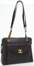 Luxury Accessories:Bags, Chanel Black Caviar Leather CC Turnlock Large Shoulder Bag. ...