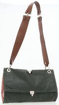 Luxury Accessories:Bags, Marni Green Leather Shoulder Bag with Exposed Clasp. ...
