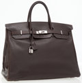 Luxury Accessories:Bags, Hermes 40cm Ebene Calf Box Leather Birkin Bag with PalladiumHardware. ...