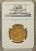Liberty Eagles, 1851-O $10 -- Improperly Cleaned -- NGC Details. AU. NGC Census:(94/448). PCGS Population (70/115). Mintage: 263,000. Num...