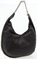 Luxury Accessories:Bags, Stella McCartney Black Vegan Leather Falabella Hobo Bag withGunmetal Chain Detail. ...