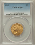 Indian Half Eagles: , 1912 $5 MS62 PCGS. PCGS Population (2713/1793). NGC Census:(3733/1494). Mintage: 790,000. Numismedia Wsl. Price for proble...