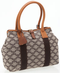 Celine Classic Monogram Canvas Shopper Bag with Brown Leather Accents