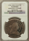 Early Dollars, 1798 $1 Large Eagle -- Improperly Cleaned -- NGC Details. VG. NGCCensus: (24/1283). PCGS Population (30/1610). Mintage: 32...