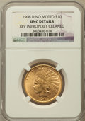Indian Eagles, 1908-D $10 No Motto -- Reverse Improperly Cleaned -- NGC Details.Unc. NGC Census: (23/394). PCGS Population (21/387). Mint...