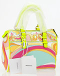 Luxury Accessories:Bags, Emilio Pucci Neon Floral Top Handle Bag. ...