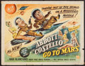 """Movie Posters:Comedy, Abbott and Costello Go to Mars (Universal International, 1953).Half Sheet (22"""" X 28""""). Comedy.. ..."""