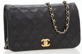 Luxury Accessories:Bags, Chanel Black Lambskin Leather Flap Bag with Shoulder Strap. ...