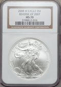 Modern Bullion Coins, 2008-W $1 Silver Eagle, Reverse of 2007 MS70 NGC. NGC Census:(4325). PCGS Population (240). Numismedia Wsl. Price for pro...