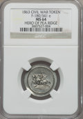 Civil War Patriotics, 1863 Hero of Pea Ridge MS64 NGC. Fuld-180/341e. Struck on anunusually broad planchet....