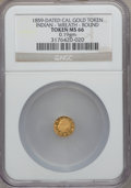 """California Gold Charms, """"1859"""" California Gold, Indian - Wreath, Round MS66 NGC. 0.19 gm...."""