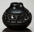 Other, A MINIATURE SANTA CLARA CARVED BLACKWARE JAR. Nancy Youngblood. c. 1983...
