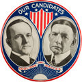 "Political:Pinback Buttons (1896-present), Coolidge & Dawes: Six Inch ""Our Candidates"" Jugate. ..."