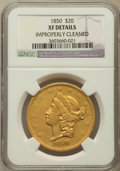 Liberty Double Eagles, 1850 $20 -- Improperly Cleaned -- NGC Details. XF....
