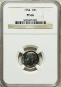 Proof Roosevelt Dimes, 1954 10C PF66 NGC. NGC Census: (241/1170). PCGS Population(559/596). Mintage: 233,300. Numismedia Wsl. Price for problem f...