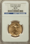 Modern Bullion Coins, 2010 G$25 Half-Ounce Gold Eagle, Early Releases MS70 NGC. NGC Census: (1980). PCGS Population (462)....