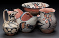 American Indian Art:Pottery, FOUR SANTO DOMINGO POLYCHROME POTTERY ITEMS. c. 1920 - 1940...(Total: 4 Items)