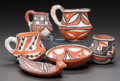 American Indian Art:Pottery, SIX SMALL ISLETA POLYCHROME POTTERY VESSELS. c. 1900... (Total: 6Items)