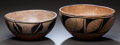 American Indian Art:Pottery, TWO SANTO DOMINGO BLACK-ON-WHITE BOWLS . c. 1940... (Total: 2Items)