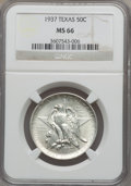 Commemorative Silver: , 1937 50C Texas MS66 NGC. NGC Census: (361/75). PCGS Population(365/99). Mintage: 6,571. Numismedia Wsl. Price for problem ...