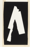 Prints, ROBERT MOTHERWELL (American, 1915-1991). Black Sounds, 1984. Lithograph, relief print with collage. 39 x 25 inches (99.1...