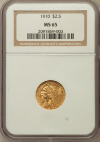 1910 $2 1/2 MS65 NGC. NGC Census: (169/13). PCGS Population (100/8). Mintage: 492,000. Numismedia Wsl. Price for problem...