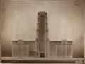 """Books:Prints & Leaves, [Architectural Drawing] Original Architectural Drawing and RoughPencil Sketch of an Unknown Building. 34.5"""" x 27""""; pencil s..."""