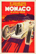"Movie Posters:Miscellaneous, Monaco Grand Prix Travel Poster (Automobile Club of Monaco, 1930).Poster (31.5"" X 47.25"").. ..."