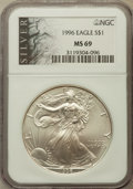 Modern Bullion Coins: , 1996 $1 Silver Eagle MS69 NGC. NGC Census: (86827/132). PCGSPopulation (5075/0). Mintage: 3,603,386. Numismedia Wsl. Price...