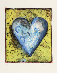 JIM DINE (American, b. 1935) The Hand - Colored Viennese Heart, 1990 Screenprint with soft-ground et