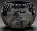 American Indian Art:Pottery, A SANTA CLARA ETCHED BLACKWARE JAR. Dan Tafoya...